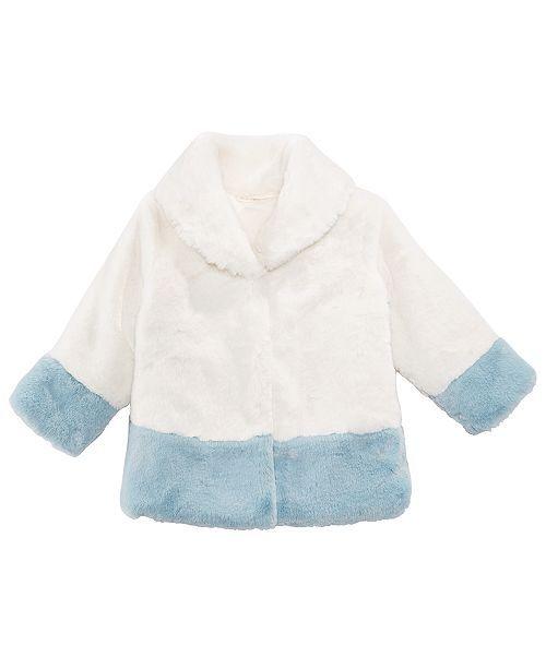 bf7eb30c73dd First Impressions Baby Girls Shawl-Collar Faux-Fur Coat