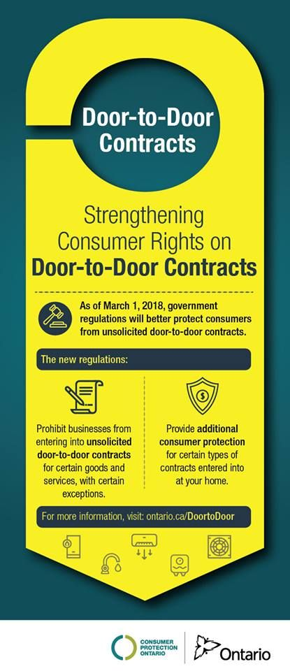 The #Ontario Government is taking steps to provide #consumers with more #protection against high pressure door-to-door marketing. Learn more: https://www.ontario.ca/page/door-door-sales-and-home-service-contracts