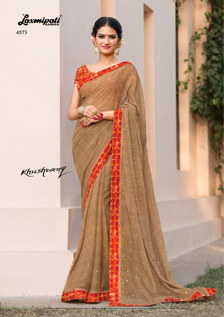 Choose this Perfect Brown #Chiffon Foil Work #Designer #Printed_Saree and Orange Rawsilk Blouse along with Rawsilk Lace Border From #Laxmipati_Sarees at an Upcoming Special #Occasion.  #Catalogue-#KHUSHRANG #Price -₹ 1983.00 #Designnumber-4573 #Colorfulsarees #Cashondelivery #Orderonline #Freeshipping #Freehomedelivery #Retailer #Ecommerce #Onlineservices #Shopnow #Happyshopping #India #KHUSHRANG0317 #Oekotex #Couture #Ethnicwear