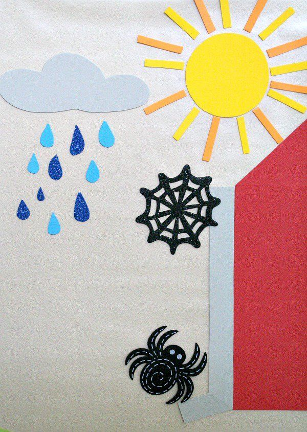 Use clear contact paper and foam sheets to make this easy Itsy Bitsy Spider…