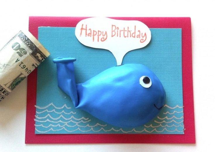 kreative Glückwunschkarte - Fisch aus Ballon und drinnen Geld verstecken