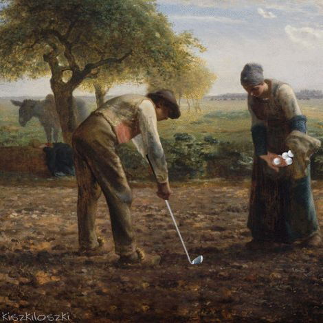 """kiszkiloszki: """" The Golf War continues. ….. Potato Planters by Jean-François Millet Worn Out by H. A. Brendekilde ….. Meet me on facebook. Become my mommy on patreon. """""""