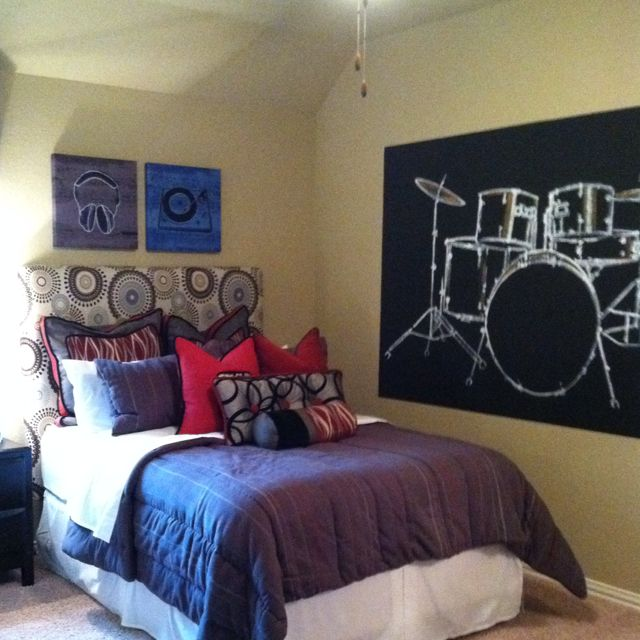 Music themed boy room. I love that drumset decal!!