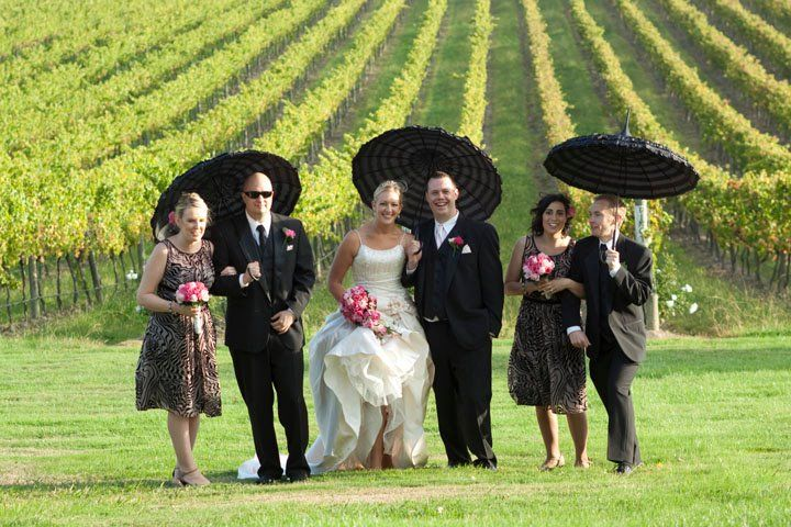 Bridal party in the vineyard #Wedding