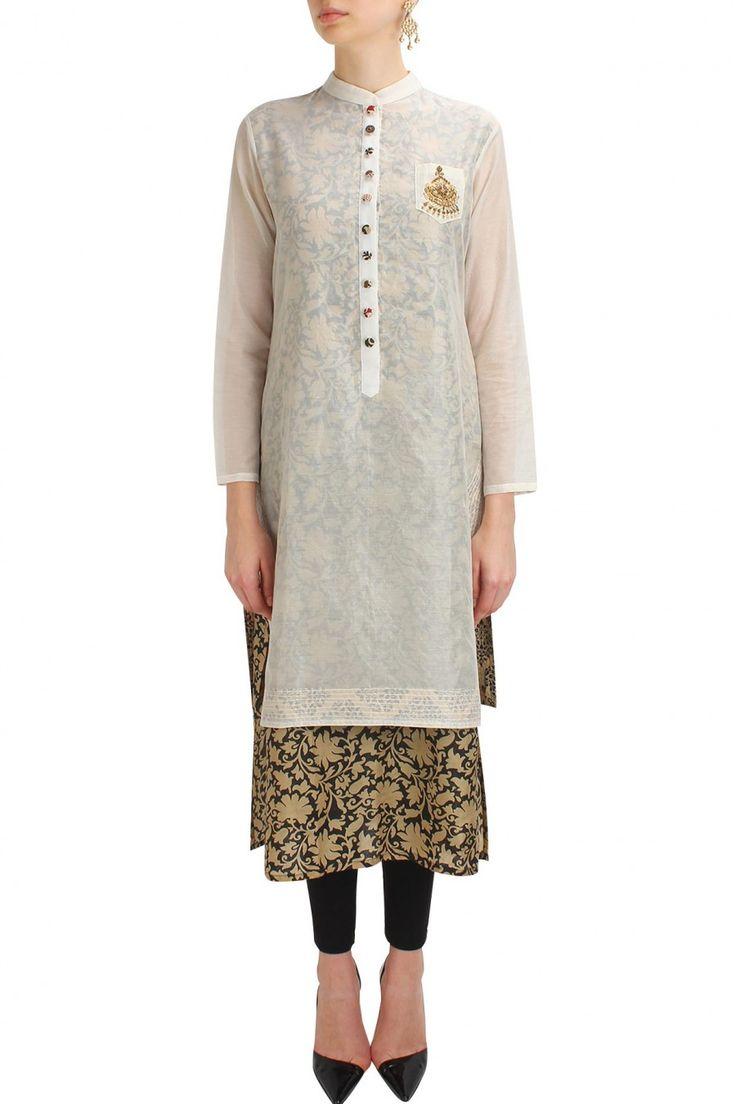 NATASHA J Off white floral embroidered chanderi two layered kurta