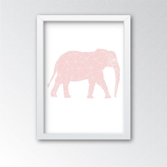 Pink Geometric Elephant Wall Art - Printable Decor - Perfect artwork for a nursery room or home. Pair with other geometric pink, gold, black, or grey