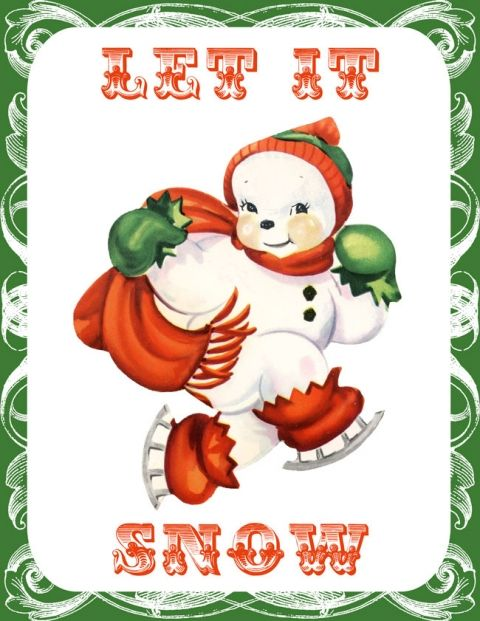 Retro Santa and Snowman Printables | Graphics fairy ...