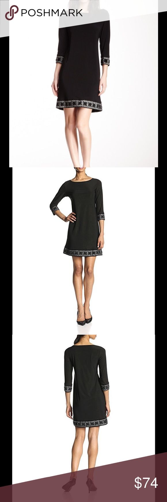"NWOT Tiana B Embellished Black Dress - Size S NWOT Tiana B Embellished Black Dress - Size S  Crew neck 3/4 length sheer sleeves  Embellished trim on sleeves and bottom of skirt Approx. 36"" length  Materials: 95% polyester, 5% spandex Tiana B Dresses"