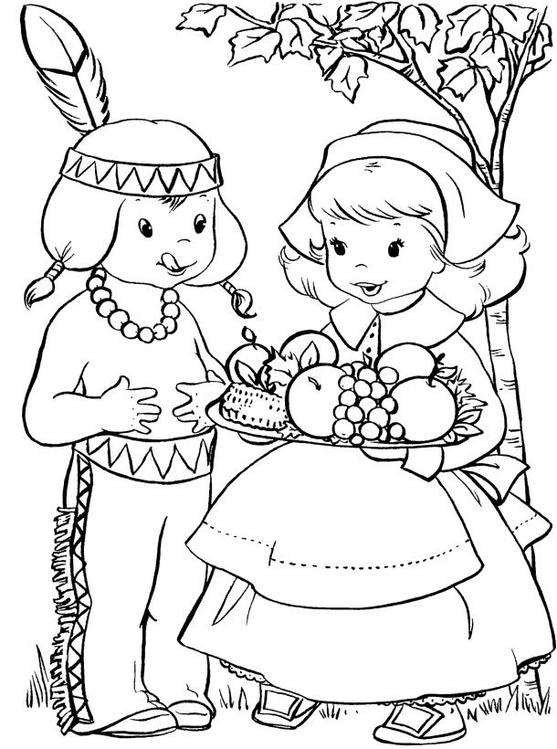 Thanksgiving Scenes Coloring Page
