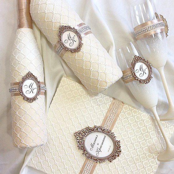 Бутылки, бокалы и папка для свидетельства о браке. Свадебный набор Wedding invitations. #7_svadeb