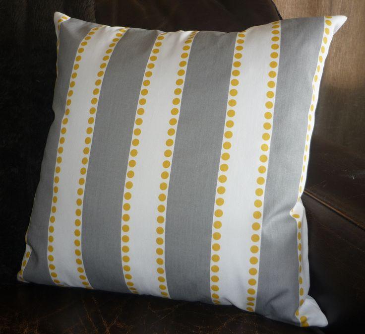 Grey, yellow & white stripe cushion cover