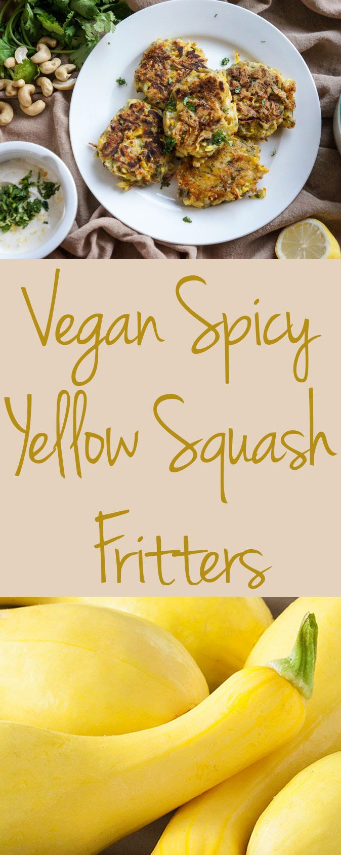 These Spicy Yellow Squash Fritters with Cilantro Dipping Sauce can double as a side or main course!