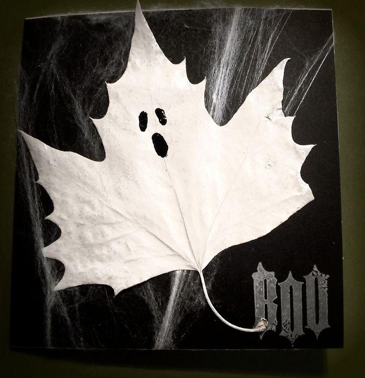 Halloween Cards - leaf ghost black & white
