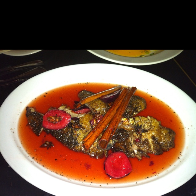 Duck in plum sauce. Best duck I've tasted. Kylie's signature dish. Billy Kwong, Surry Hills, NSW