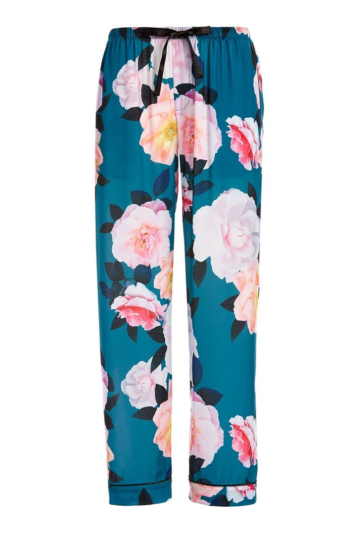 Teal Floral Classic Pj Pant Select Colour: Multi Details A floral teal dream awaits you in these women's pyjama pants! Crafted in a satin fabric, other features include an all over floral print, elasticised waistband, drawstring closure, twin side pockets in a classic style fit. Line Number: 814523 Fabric: 100% Polyester Satin Fabric Type: WOVEN POLYESTER SATIN