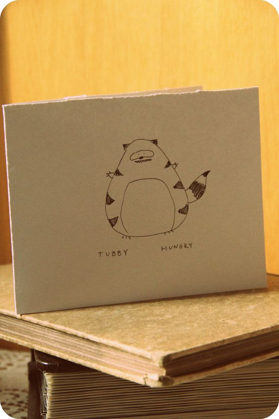 Tubby Fat Raccoon Blank Card by EmsieArt on Etsy, $2.00