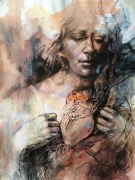 Anna-Carien Goosen, Sprouted, Mixed media on paper (380 x 520mm) #art #drawing www.art.co.za/anna-cariengoosen.html