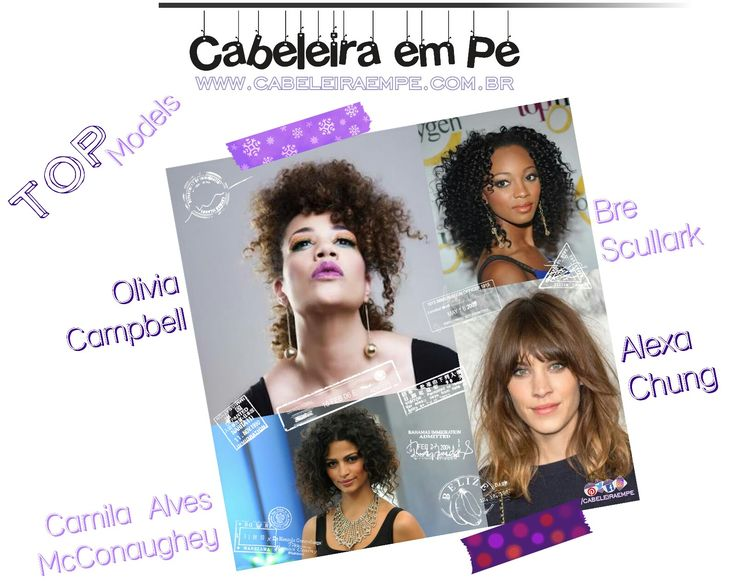 """Clique em """"Visite"""" e veja mais. Cabelo Natural Olivia Campbell, Bre Scullark, Alexa Chung e Camila Alves McConaughey. Modelos / Top Models para inspiração de transição capilar de cabelos crespos, cacheados e ondulados."""