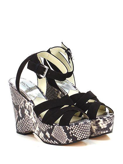 Michael Kors - Zeppe - Donna - Zeppa in camoscio e pelle effetto pitone con cinturino alla caviglia e suola in gomma. Tacco 120, platform 40 con battuta 80. - BLACK\NATURAL - € 175.00