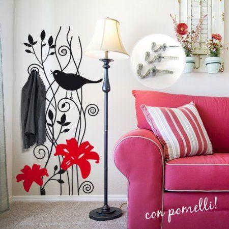 Adesivo murale appendiabiti con uccellino misure - Adesivi per muro ikea ...
