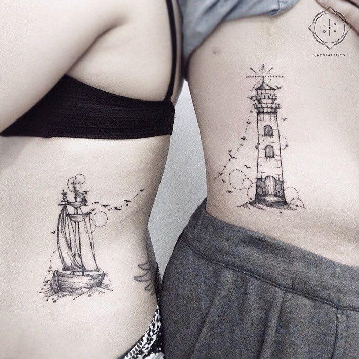 """494 Likes, 9 Comments – Lidya Adventa Tattoos (LADVTATTOOS) auf Instagram: """"Ein kleines Segelschiff und ein Leuchtturm sehen sich. Paar t …"""