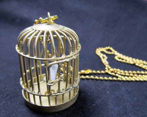 Birdcage Necklace Bird Birdcages Birds golden gold by Miniblings