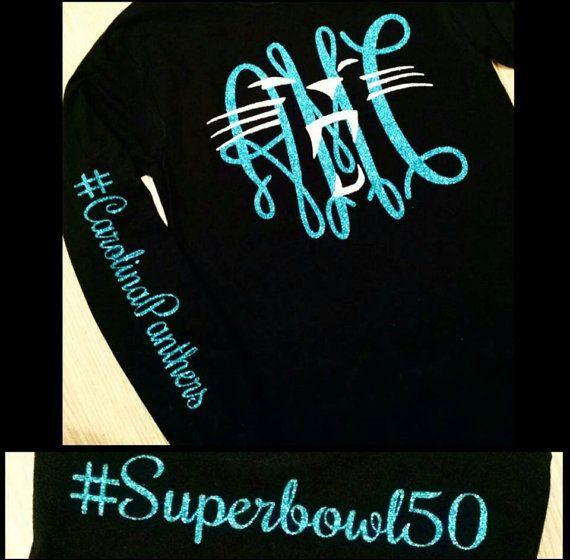Carolina Panther Superbowl 50 Monogram Glitter by DreamThread