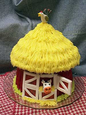 Our signature Giant Cupcake can be decorated to match any theme, like this barn for a farmer's 80th birthday!
