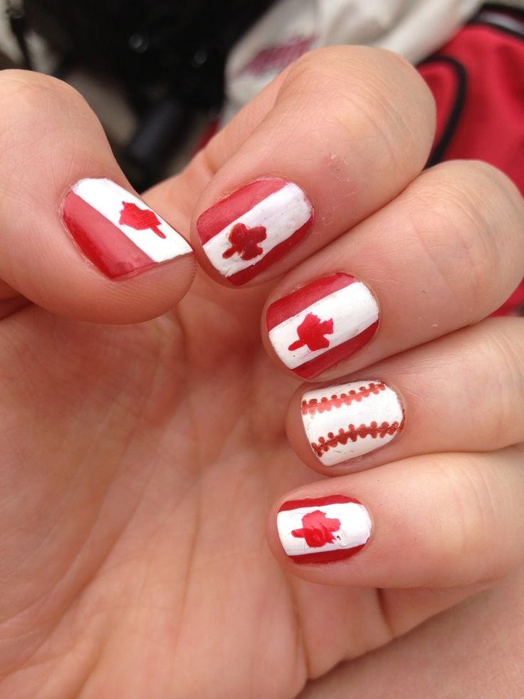 canada flag and baseball nails