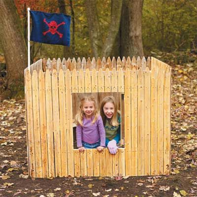 By adding a backyard fort, you can let your kids' imaginations run wild. The design of this fort encourages tons of fun, with a super—cool kid-sized hatch—complete with a peephole to check out visitors—and a flag that kids can design and make themselves. It takes only an afternoon to cut and assemble the parts—and your kids will have a playhouse retreat for years to come.