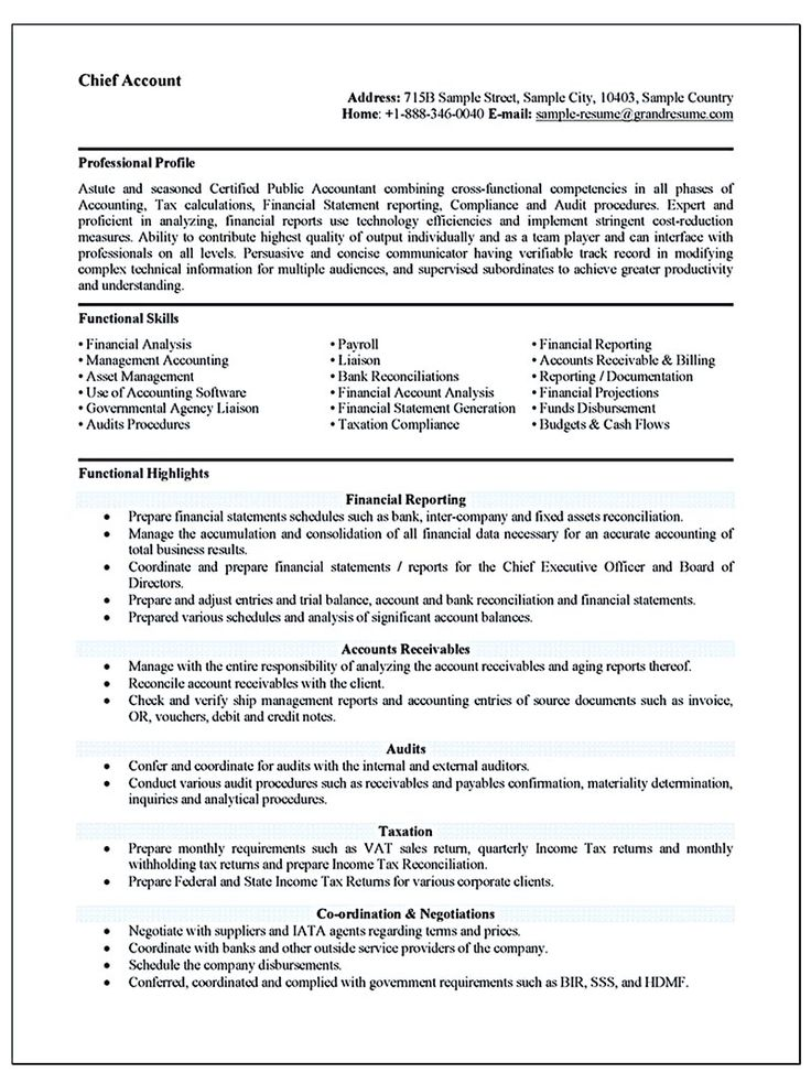 Accounting resume ought to be perfect in any way If you want to - internal resume examples