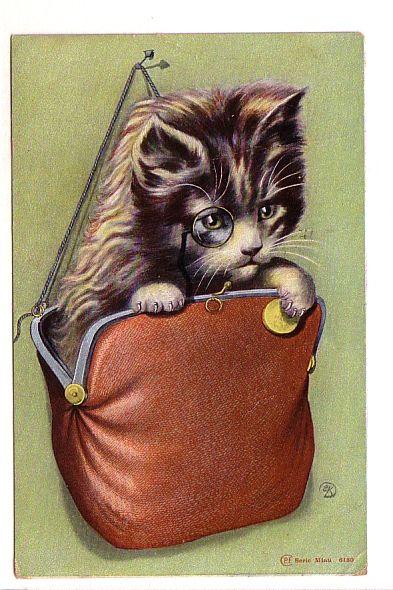 1904 Kitten wearing monocle in change purse postcard