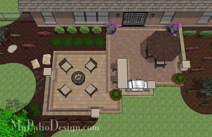 With 665 sq. ft., the Contrasting Paver Patio Design with Grill Station-Bar is perfect for entertaining and completely enjoying your backyard. Download plan.