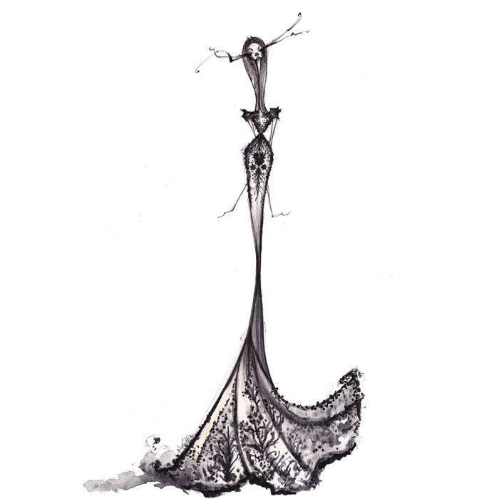 Fashion illustration - Zuhair Murad dress sketch // Jamie Lee Reardin