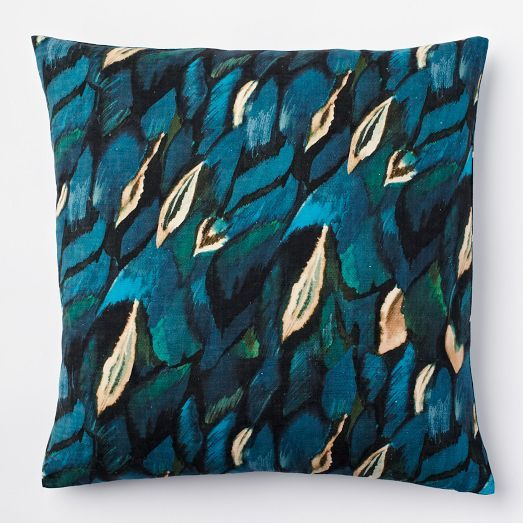 peacock silk pillow cover west elm gifts under 50. Black Bedroom Furniture Sets. Home Design Ideas