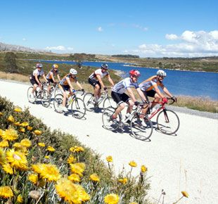 Enjoy beautiful mountain scenery while competing in cycling events.
