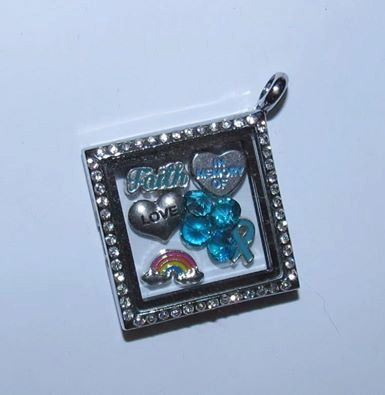 Ovarian Cancer  Memorial Locket/Lockets/Floating Charms Glass