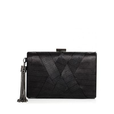 Quiz Black Pleated Tassel Box Clutch Bag | Debenhams