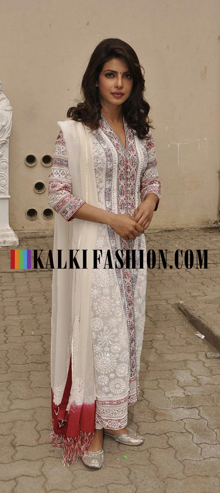 Priyanka Chopra attends UNICEF event in a cream embroidered Payal Jain suit. http://www.kalkifashion.com/