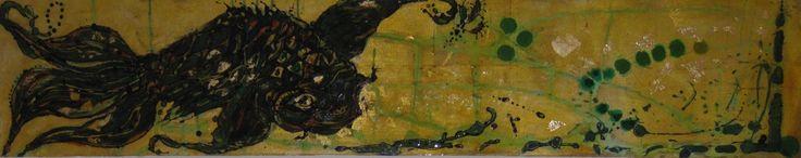 Demi McLeod 'GIBEL CARP' mixed media on canvas 152 x 30 cm