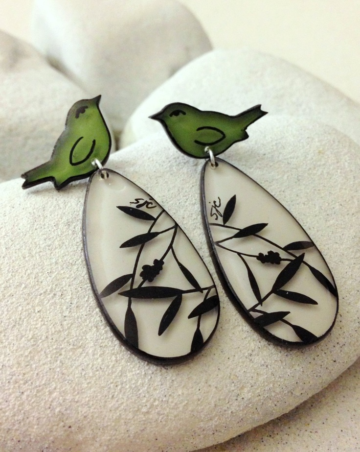 Green Birds and Branches - Handmade three dimensional painted whimsical earrings. $18.00, via Etsy.