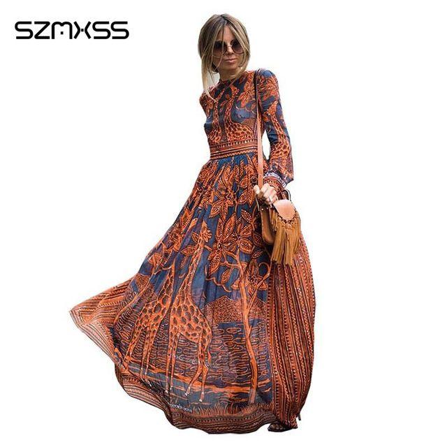 Sommer maxi dress neue elegante frauen beiläufige lange kleider langarm giraffe druck und party kleider vestidos