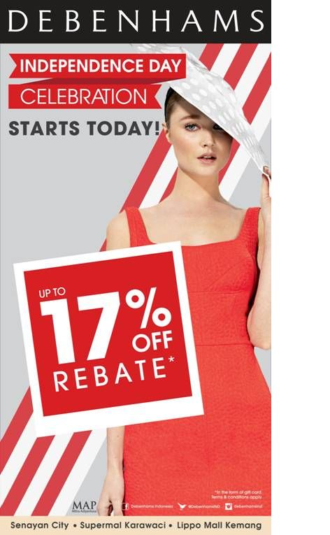Get 17% Redemption during Independence Day at Debenhams!