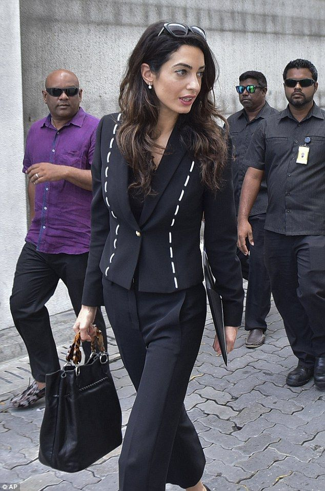 She means business: The human rights lawyer is in the country to meet with former president Mohamed Nasheed and Maldivian authorities to discuss Nasheed's detention and jail sentence