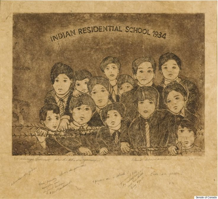 """Alanis Obomsawin — """"Indian Residential School 1934 - A prison or a school?""""Abenaki filmmaker Alanis Obomsawin is known for documentaries such as """"Kanehsatake: 270 Years of Resistance."""" But she's also a visual artist, as evidenced in this piece, a commentary on the Indian residential school policy that took children away from their homes, their families, and their traditions."""