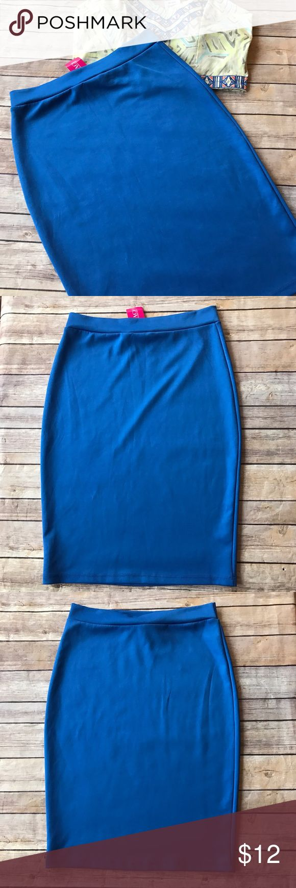 Sexy Blue Pencil Skirt!!! Blue pencil skirt with stretchy waist. Looks great with a crop top! Matching top in cover photo is listed for sale as well and would make a great bundle! 😉 a'gaci Skirts Pencil