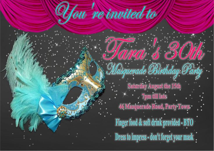 Masquerade Invitation $12AUD emailed to you - you print and frame PAYPAL ACCEPTED!  Order here  www.facebook.com/readyforprint