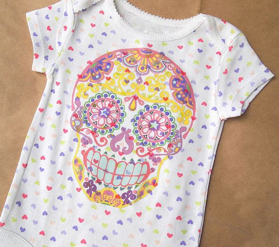 9M Sugar Skull Romper. Pink hearts Day of the Dead onesie. Psychedelic Printed Creeper Kids Bodysuit. Trendy Baby Girl Clothes