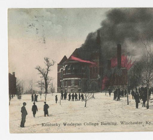 Kentucky Wesleyan College Burning, Winchester, KY :: Ronald Morgan Postcard Collection