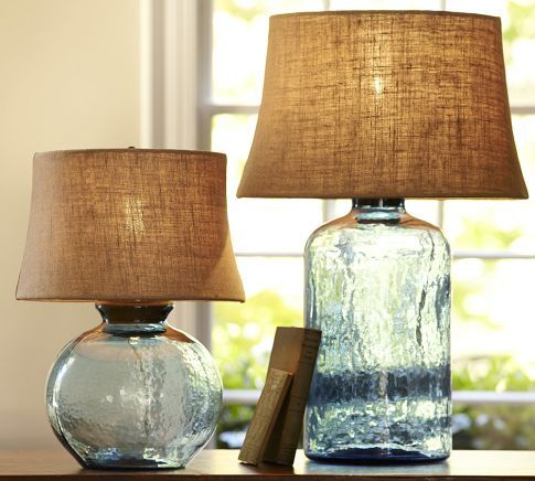 blue glass lamp with burlap shade